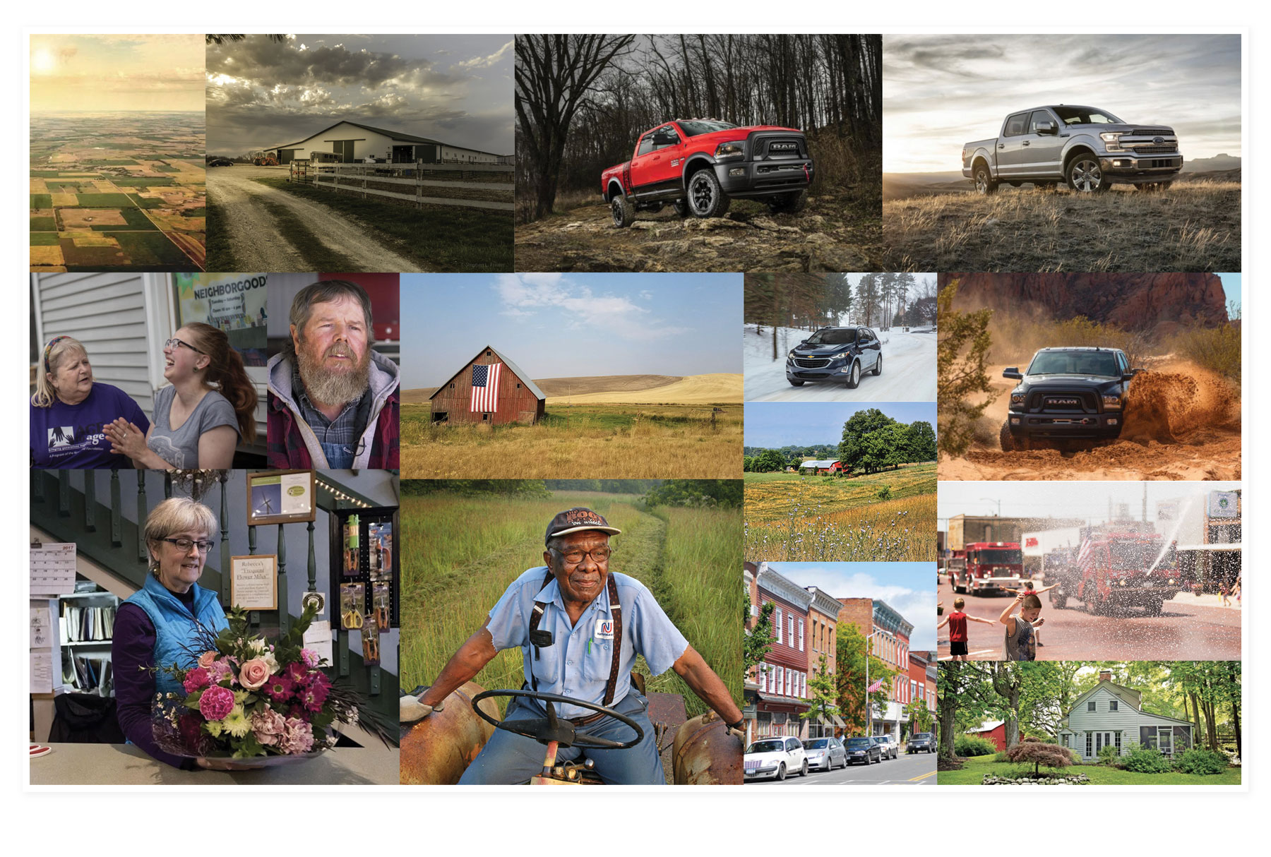 mood board of collected rural images